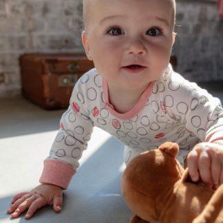 Verhip boxpak - babykleding - 62/68 - roze - wit - gestipt - biologisch katoen - duurzaam cadeau- babykleding meisje - meegroeimouwen- kraamcadeau