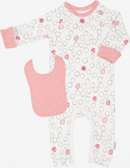 Verhip boxpak + extra lange slab - babykleding - 62/68 - roze - wit - gestipt - biologisch katoen - duurzaam cadeau- babykleding meisje - meegroeimouwen- kraamcadeau - Slabber - Slabbetjes