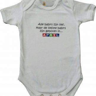 """Witte romper met """"Alle baby's zijn lief, maar de liefste baby's zijn geboren in April"""" - maat 74/80 - babyshower, zwanger, cadeautje, kraamcadeau, grappig, geschenk, baby, tekst, bodieke"""