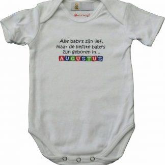 """Witte romper met """"Alle baby's zijn lief, maar de liefste baby's zijn geboren in Augustus"""" - maat 74/80 - babyshower, zwanger, cadeautje, kraamcadeau, grappig, geschenk, baby, tekst, bodieke"""