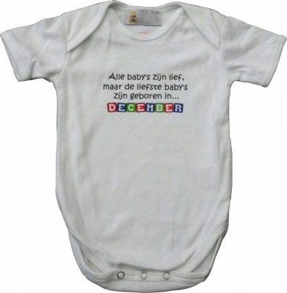 """Witte romper met """"Alle baby's zijn lief, maar de liefste baby's zijn geboren in December"""" - maat 74/80 - babyshower, zwanger, cadeautje, kraamcadeau, grappig, geschenk, baby, tekst, bodieke"""