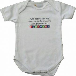 """Witte romper met """"Alle baby's zijn lief, maar de liefste baby's zijn geboren in Februari"""" - maat 74/80 - babyshower, zwanger, cadeautje, kraamcadeau, grappig, geschenk, baby, tekst, bodieke"""