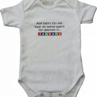 """Witte romper met """"Alle baby's zijn lief, maar de liefste baby's zijn geboren in Januari"""" - maat 62/68 - babyshower, zwanger, cadeautje, kraamcadeau, grappig, geschenk, baby, tekst, bodieke"""