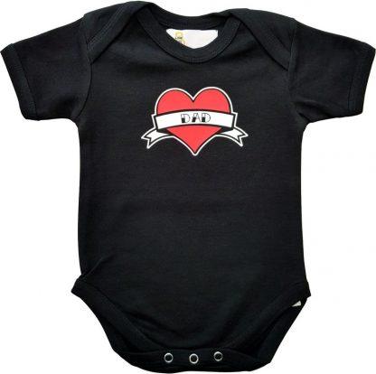 """Zwarte romper met """"Dad"""" - maat 62/68 - vaderdag, cadeautje, kraamcadeau, grappig, geschenk, baby, tekst, bodieke"""