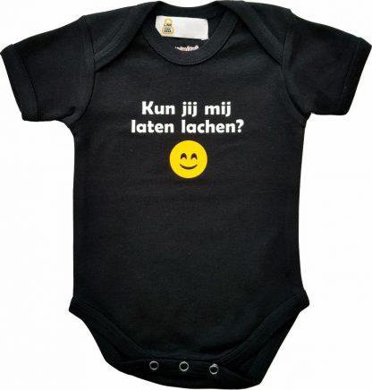 """Zwarte romper met """"Kun je mij laten lachen?"""" - maat 62/68 - babyshower, zwanger, cadeautje, kraamcadeau, grappig, geschenk, baby, tekst, bodieke"""