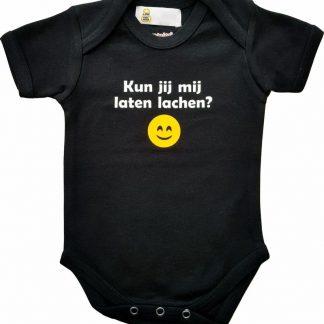 """Zwarte romper met """"Kun je mij laten lachen?"""" - maat 74/80 - babyshower, zwanger, cadeautje, kraamcadeau, grappig, geschenk, baby, tekst, bodieke"""