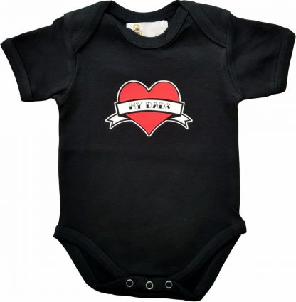 """Zwarte romper met """"My dads"""" - maat 62/68 - vaderdag, cadeautje, kraamcadeau, grappig, geschenk, baby, tekst, bodieke"""