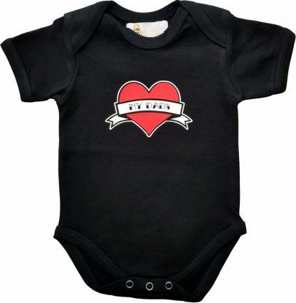 """Zwarte romper met """"My dads"""" - maat 74/80 - vaderdag, cadeautje, kraamcadeau, grappig, geschenk, baby, tekst, bodieke"""