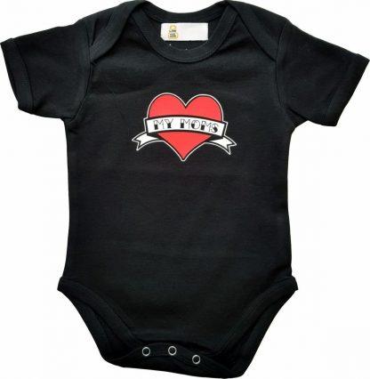 """Zwarte romper met """"My moms"""" - maat 74/80 - moederdag, zwanger, cadeautje, kraamcadeau, grappig, geschenk, baby, tekst, bodieke"""