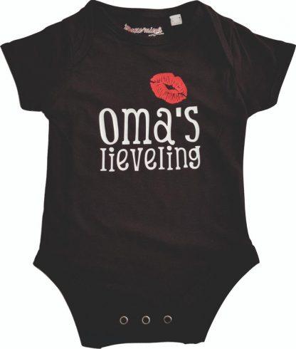 """Zwarte romper met """"Oma's lieveling"""" - 6 tot 12 maanden - grootmoeder, babyshower, zwanger, cadeautje, kraamcadeau, grappig, geschenk, baby, tekst, bodieke"""