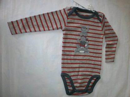 noukie's , 2 pack , body set , lange mouw , jongen, streep grijst , rood , 9 maand 74