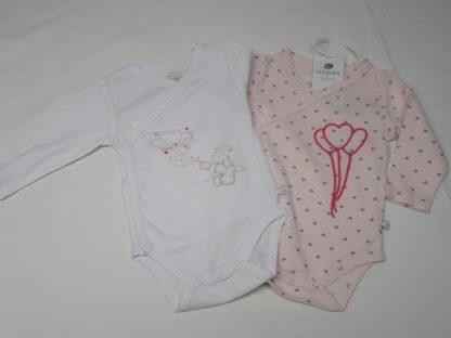noukie's , 2 pack , body set , lange mouw , meisje ,rose , wit ballon , 00 m , 46 , premature