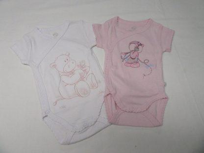noukie's , 2 pack body set , meisje , korte mouw , rose en wit 1 maand 56