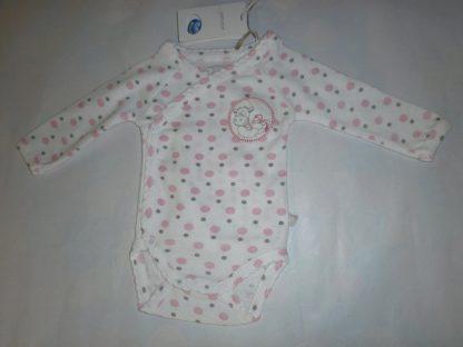 noukie's 2 pack , bodyset , meisje , wit , stip rose , lola , lange mouw 00 maand , 46 , premature