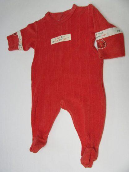 petit bateau , pyjama , eponge , ( badstof ) , rood 6 maand 67