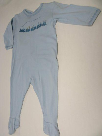 petit bateau , pyjama , katoen , jongen ,bleek blauw , trein, 12 maand 74
