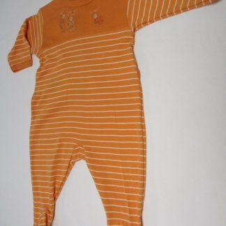 petit bateau , pyjama , katoen , orange , streep, 12 maand , 74