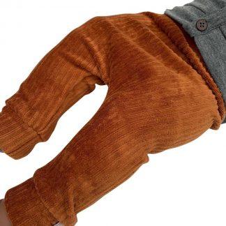 tinymoon Unisex Broek Rib - model drop crotch - Bruin - Maat 62/68