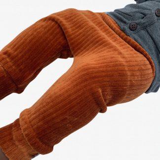 tinymoon Unisex Broek Rib - model drop crotch - Roestbruin - Maat 74/80