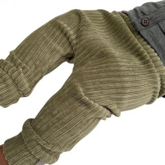 tinymoon Unisex Broek Rib - model drop crotch - Vintage Green - Maat 62/68