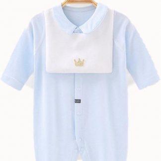 Baby Boxpak Jongen met slabbetje - Jumpsuit - Blauw - 3-6 Maanden