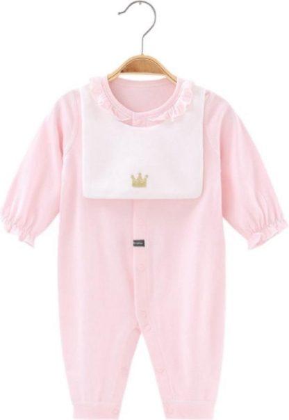 Baby Boxpak Meisje met slabbetje - Jumpsuit - Roze - 3-6 Maanden