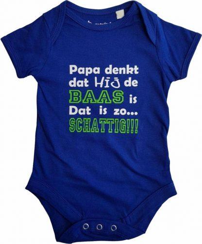 """Blauwe romper met """"Papa denkt dat hij de baas is. Dat is zo... Schattig!!!"""" - 6 tot 12 maanden - vader, vaderdag, babyshower, zwanger, cadeautje, kraamcadeau, grappig, geschenk, baby, tekst, bodieke"""