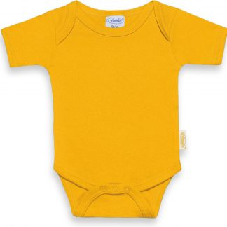 Funnies romper uni line ochre | romper 62-68 | baby | 100% zuivere katoen | rompertjes baby| rompers | romper korte mouw