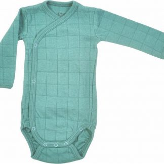 Lodger Omslagromper Baby Lange Mouw - Maat 80 - Romper Solid - Overslagromper - Katoen - Unisex - Roze