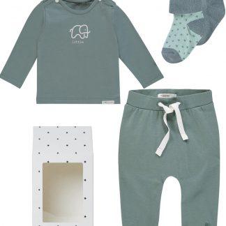 Noppies Giftset (4delig) Unisex Broek Groen, Shirt Groen, 2 paar Sokjes - Maat 68
