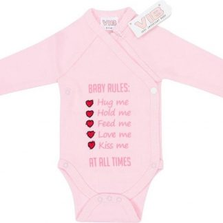 Overslag Romper 'BABY RULES: Hug me, Hold me, Feed me, Love me, Kiss me, AT ALL TIMES' Roze