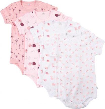 Pippi Rompers Korte Mouw Meisjes Katoen Roze 4 Stuks Maat 62
