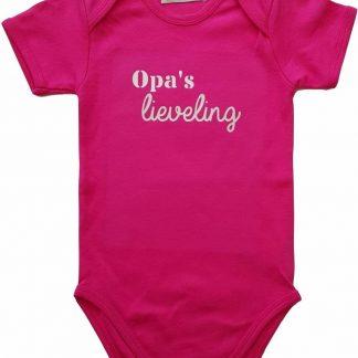 """Roze romper met """"Opa's lieveling"""" - maat 74/80 - grootvader, babyshower, zwanger, cadeautje, kraamcadeau, grappig, geschenk, baby, tekst"""