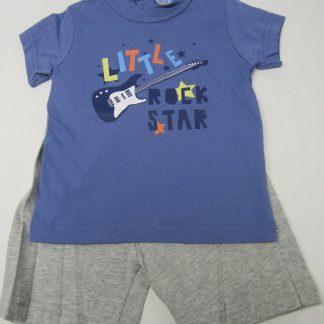 wiplala , jen & james ,zomer pyjama , jongen, blauw/grijst little rock star 80 - 1 jaar