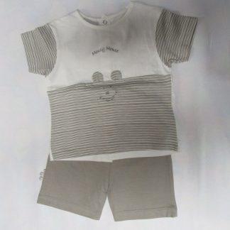 wiplala , zomer pyjama , jongen, wit/ bruin , mousy mouse 1 jaar 80